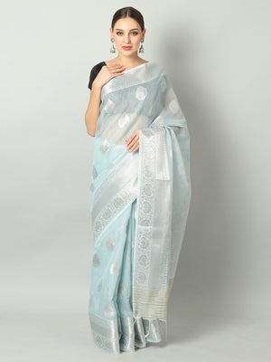 Silver booties and pink border on sky blue kota saree
