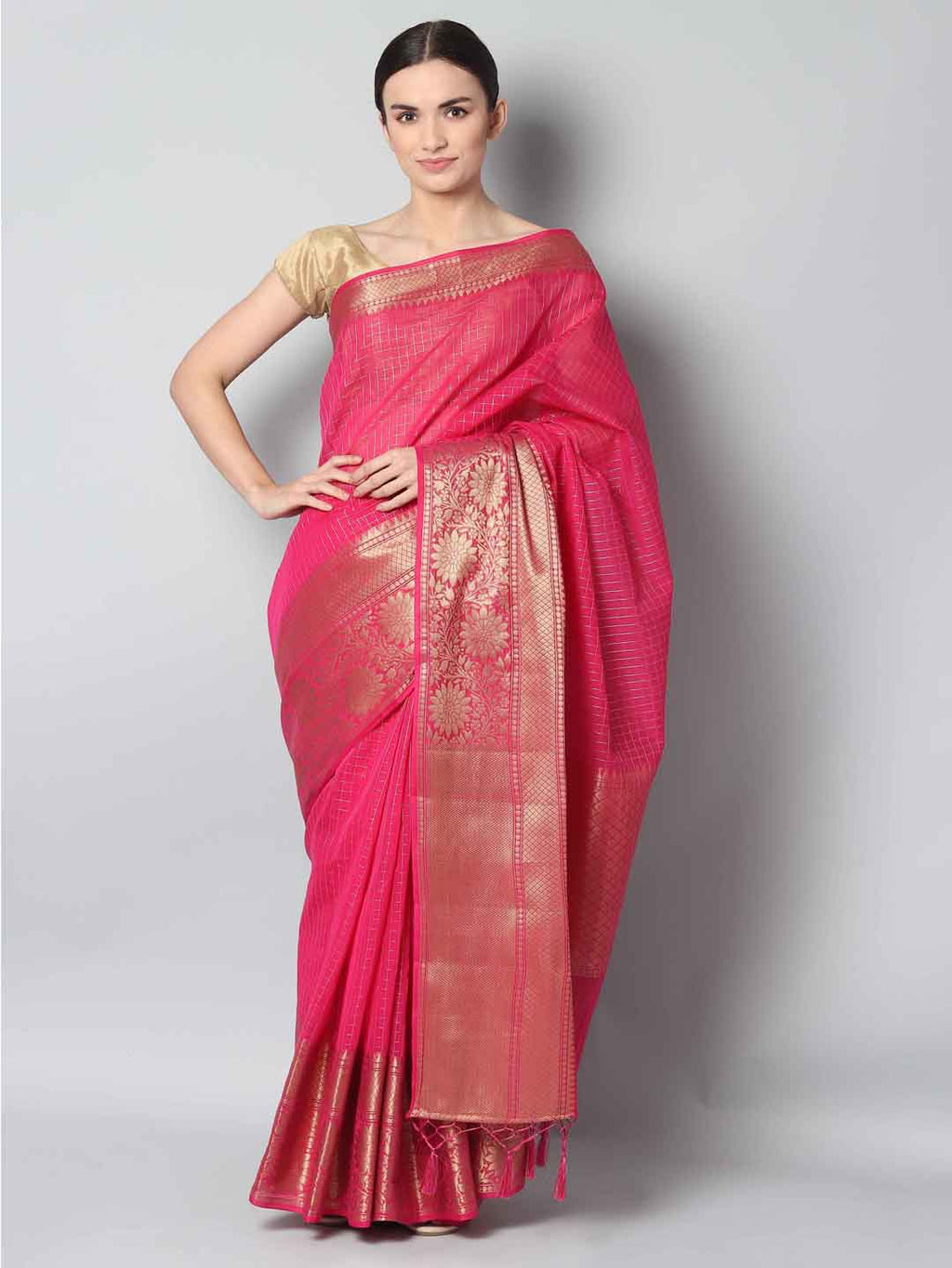 Small checks of antique gold on pink chanderi saree and wide border