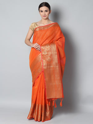 Small checks of antique gold on orange chanderi saree and wide border
