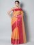 Orange chanderi saree with small checks and contrasting meenakari border