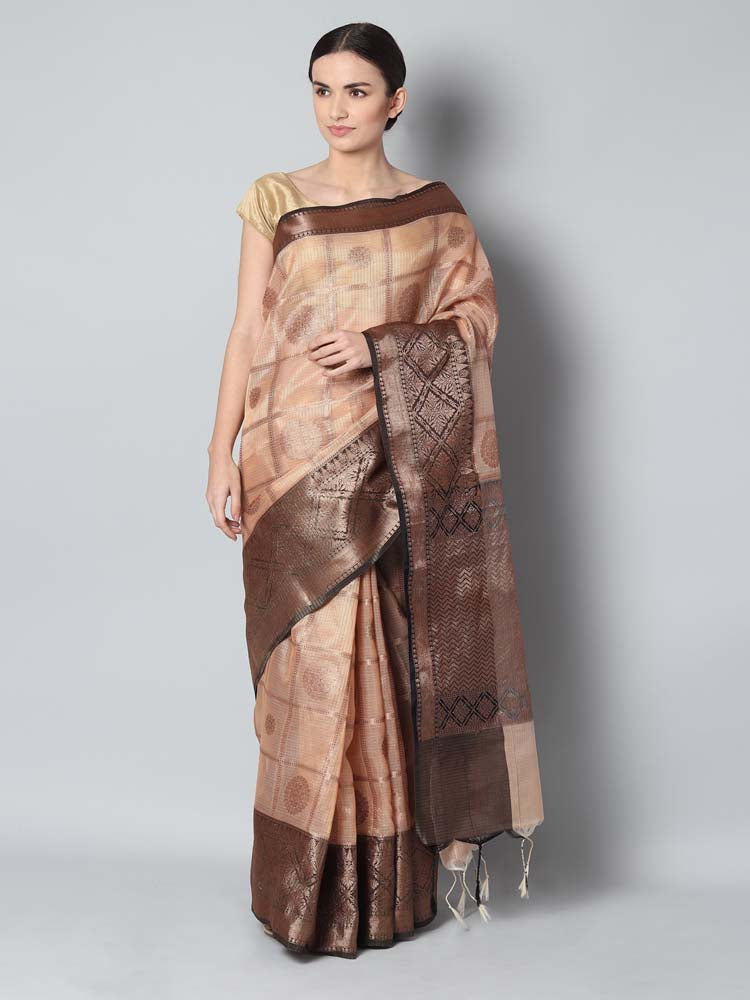 Antique gold checks on light peach zari kota saree with black zari border