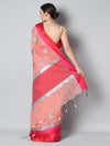 Peach kota saree with silver zari booties and red & pink border