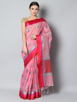 Pink kota saree with silver zari booties and red & pink border