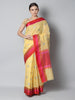Yellow kota saree with silver zari booties and contrasting borders