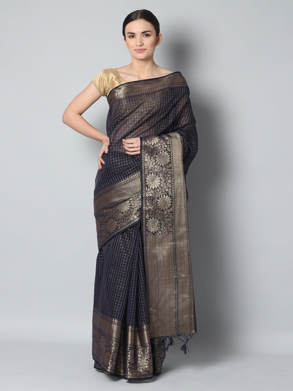 Small checks of antique gold on black chanderi saree and wide border