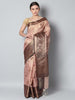 Antique gold checks on light pink zari kota saree with black zari border