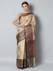Antique gold checks on light golden zari kota saree with black zari border