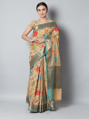 Offwhite chanderi saree with floral jaal overall