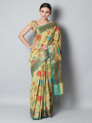 Lemon yellow chanderi saree with floral jaal weaving overall