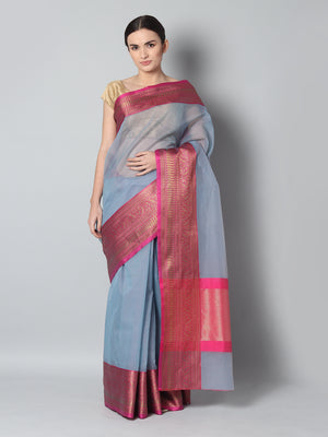 Blue chanderi saree with small checks and contrasting meenakari border