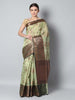 Antique gold checks on green zari kota saree with black zari border