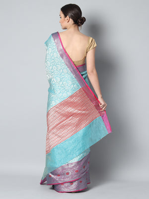 Kanjivaram Sky blue cotton silk saree with overall weaving & red brocade border