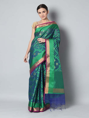 Tanchui kora saree with overall jall of green and blue