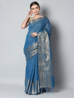 Small checks of antique gold on turquoise blue chanderi saree and wide border
