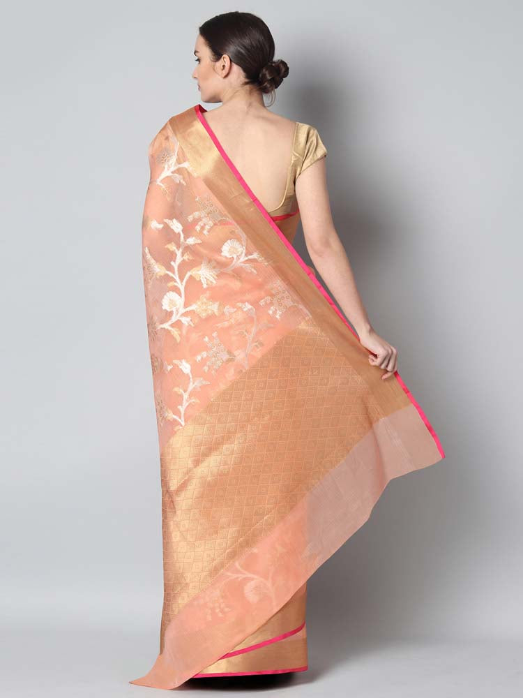 Peach kora saree with floral jaal of silver & gold floral weaving overall