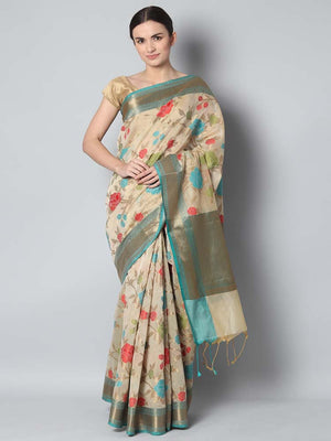 Offwhite chanderi saree with floral jaal weaving overall