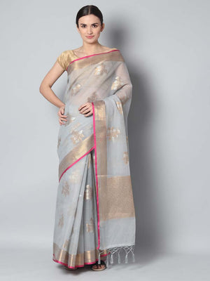 Grey kota saree with silver and gold flowers spread overall
