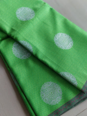 Tanchui Kora in bright green with silver circles allover- Tanchui - EthnicRoom