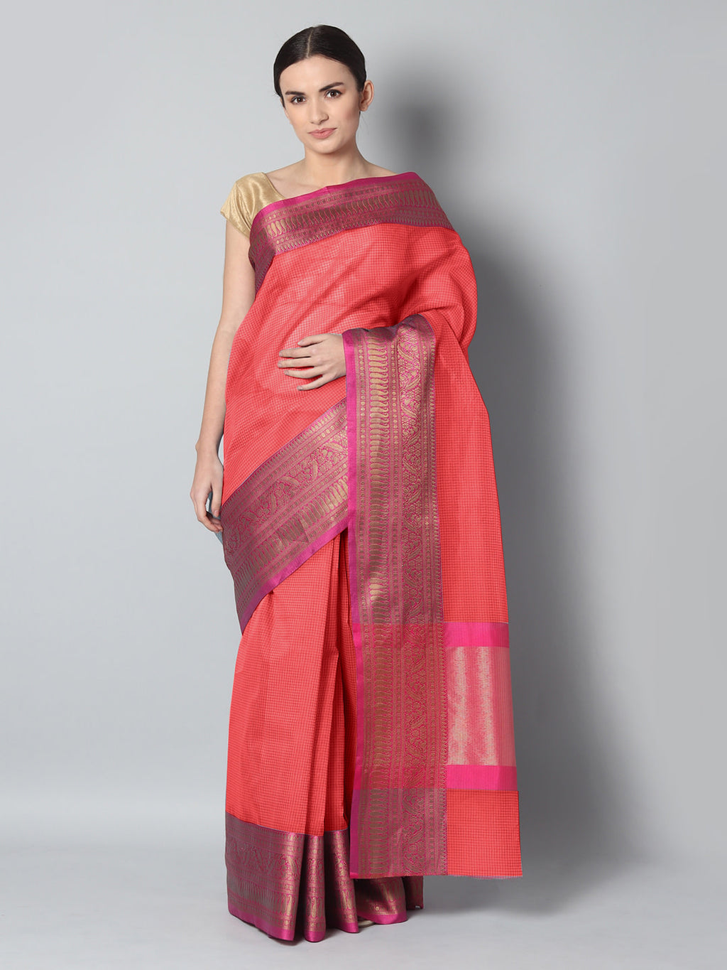 Red chanderi saree with small checks and contrasting meenakari border