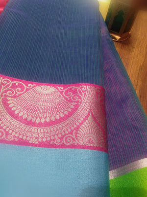 Blue kota saree with beautiful pink silver zari border - EthnicRoom