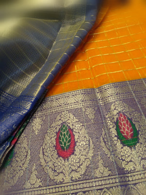 Orange kora silk saree with beautiful blue siilver zari border - EthnicRoom