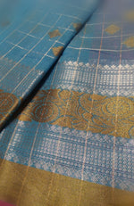 Sky blue Chanderi saree with wide zari border