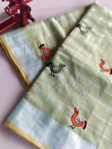 Small birds embroidered on pista green soft linen - EthnicRoom