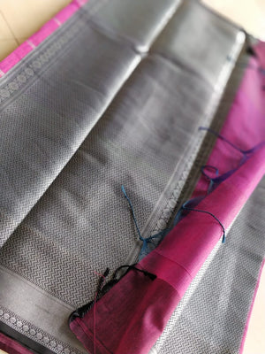Unique saree in purple linen chanderi with heavy border and blouse piece- Noor - EthnicRoom