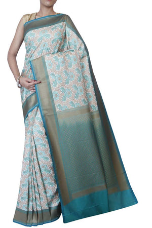 Amazing pure kataan silk with green and zari jaal overall