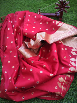 Red pure silk saree with golden zari weaving