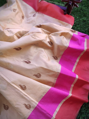 Off white katan silk saree with golden booties all over