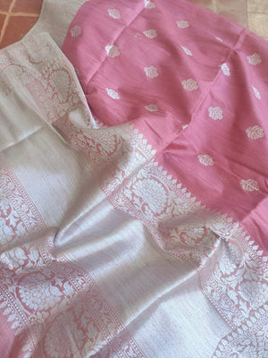 Pink dupion silk saree with silver zari weaving and butties