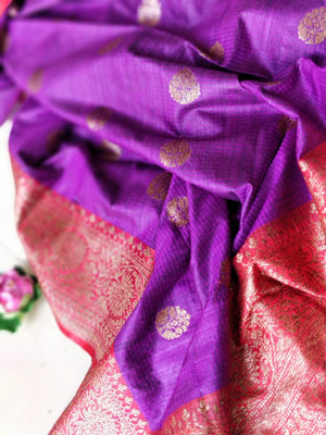 Purple pure dupion saree with golden zari weaving and red border