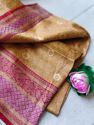 Yellow pure silk saree with golden zari weaving and red pink