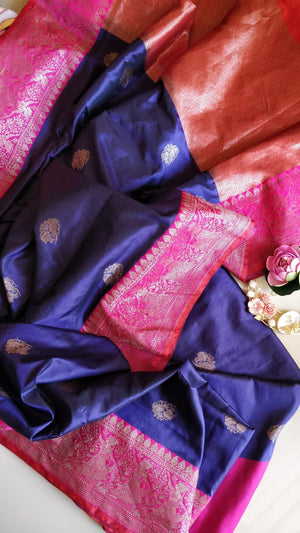 Purple pure katan silk saree with golden zari weaving and booties all over