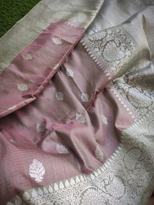 Greyish pink dupion silk saree with silver zari weaving and silver butties
