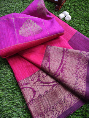 Horizontally divided in purple and pink dupion silk with antique golden zari border