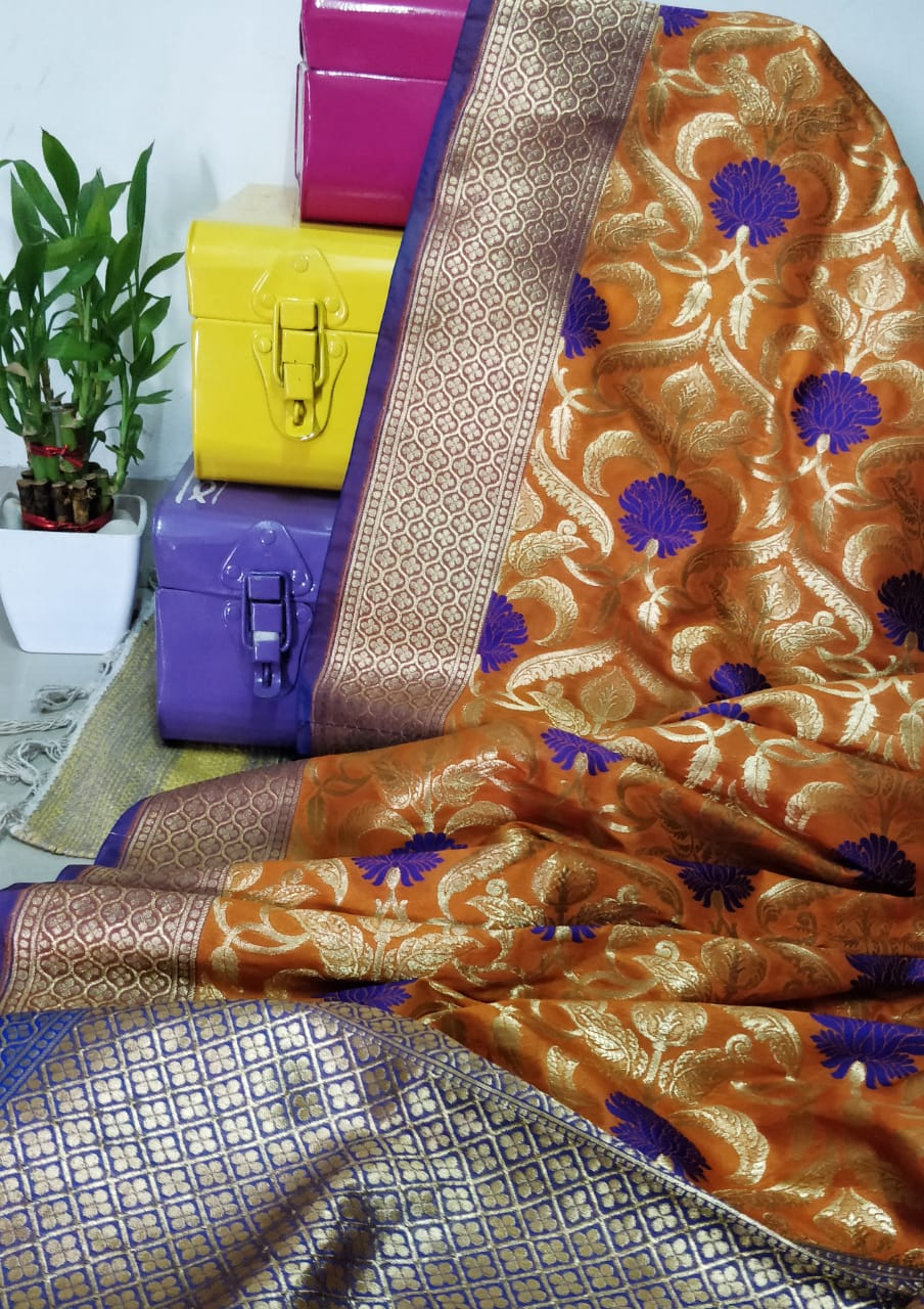 Mustard and zari silk dupatta - EthnicRoom