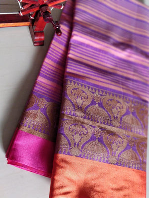 Golden jhumki border on striped purple and orange cotton silk saree - EthnicRoom