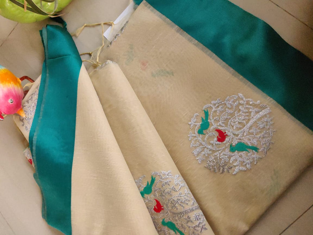 Silver embroidery on cream jute linen with teal green border - EthnicRoom