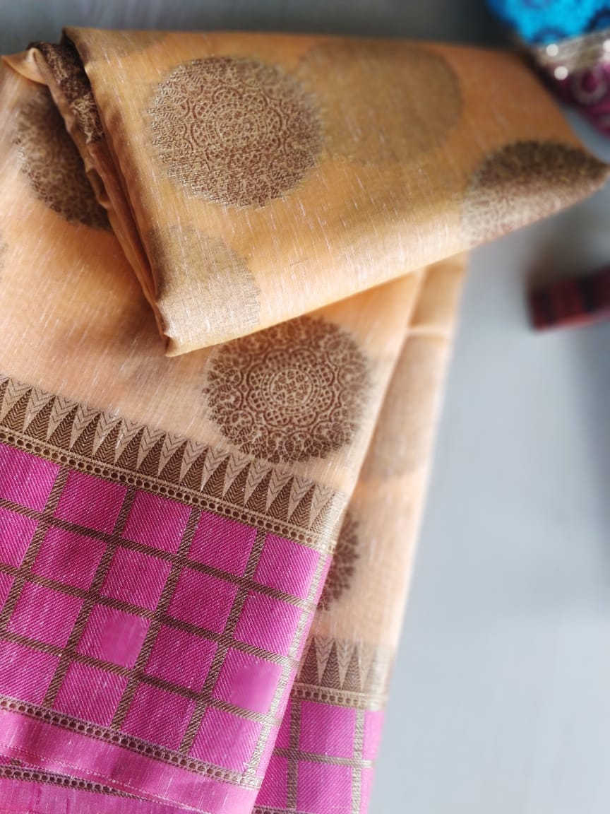 Pastel orange cotton linen with checks on pink border- Saanjh - EthnicRoom