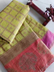 Golden checks on lemon green kota checks with red beautiful border - Saanjh - EthnicRoom