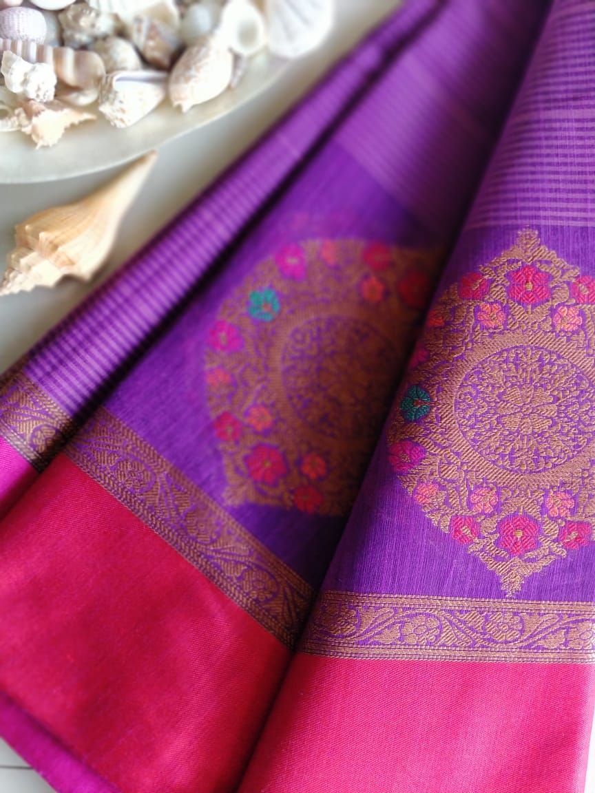 Stripes of dark & light purple with intricate bootas on border- Naayaab - EthnicRoom