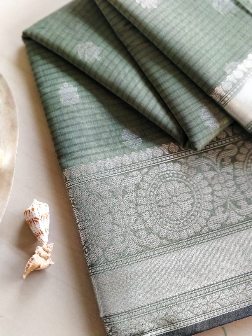 Moss green chanderi cotton with silver booties and border- Naayaab - EthnicRoom