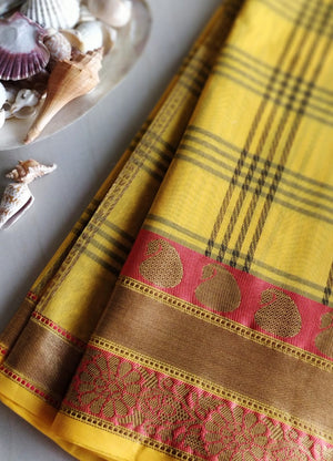 Broad checks on yellow with bridal combination paisley borders- Naayaab - EthnicRoom