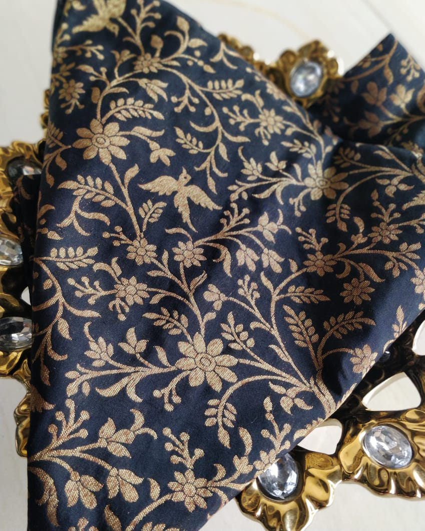 Golden jaal of flora and fauna on black blouse fabric BL075 - EthnicRoom