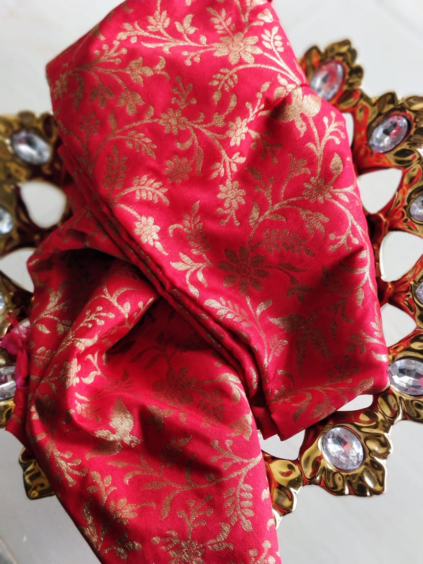 Golden jaal of flora and fauna on red blouse fabric BL073 - EthnicRoom