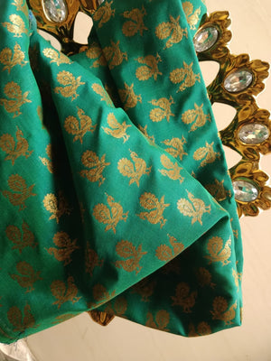 Small golden peacock on green blouse fabric BL070 - EthnicRoom