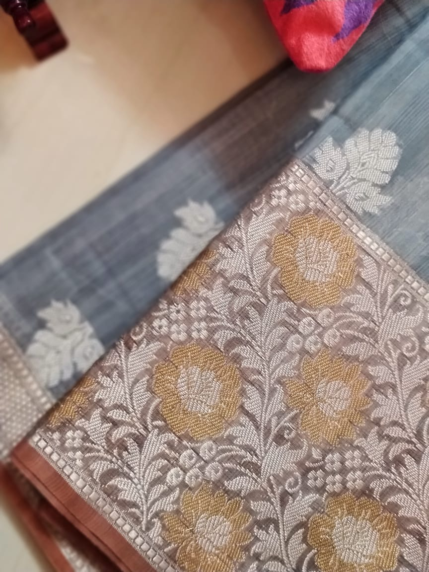 Graceful linen with gold and silver resham weaving SR841- Sukoon - EthnicRoom