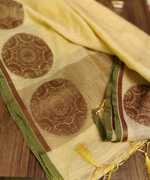 Light yellow Linen silk dupatta with antique zari motifs DT130 - EthnicRoom